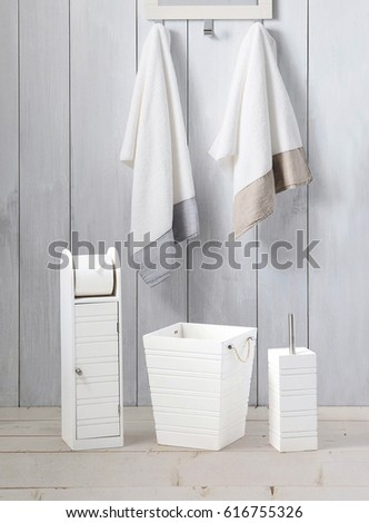 hanging towel. Bathroom Wall With Hanging Towel Interior. Stripped Towels On Holder In The A