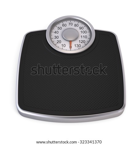 Bathroom Weight Scale isolated on white - stock photo