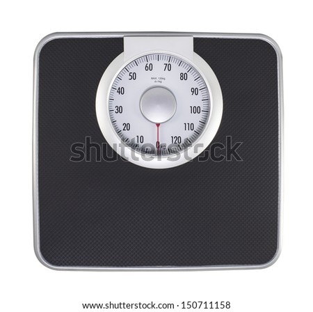 Bathroom weight scale on white background (with clipping path)
