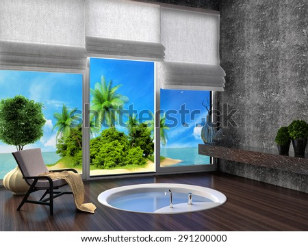 Bathroom with a view of the tropical island. 3d illustration - stock photo