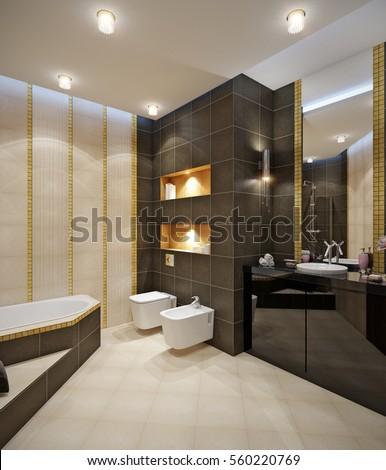 Bathroom With Beige Tile Floor, Beige Brown Wall Tile, Gold Mosaic, Large  Mirror