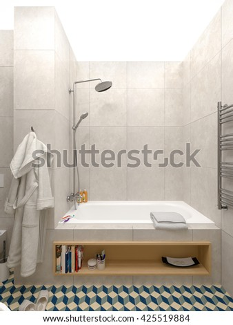 bathroom with brick wall 3d rendering