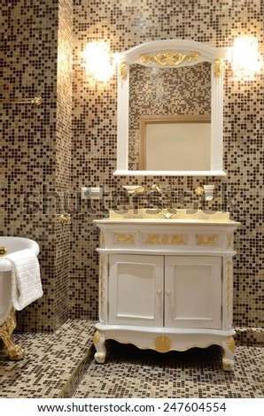 Bathroom with gilded accessories in retro style - stock photo