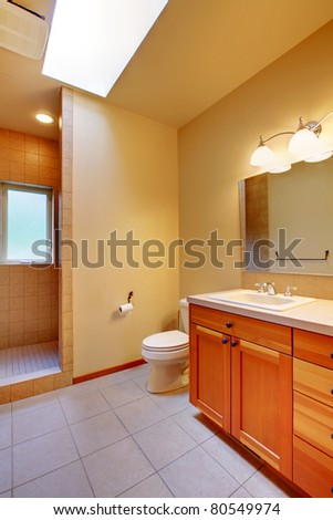 Bathroom with green walls and cherry cabinet - stock photo