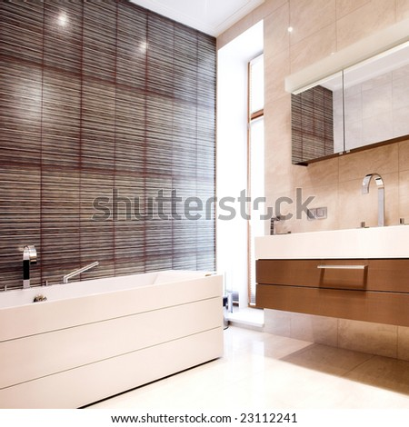 Bathroom with Mirror and  tub worm colours - stock photo