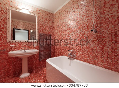Bathroom with red tiles and a bathtub