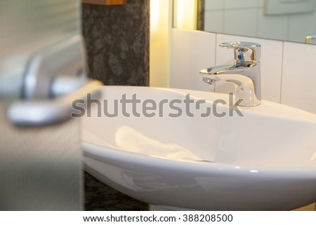 bathroom with white lavatory in a house