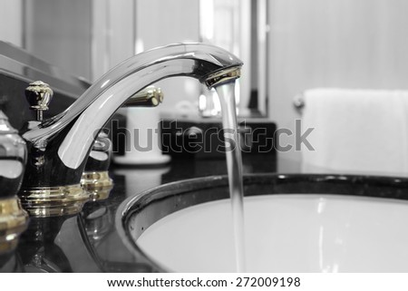 bathroon faucet with running water