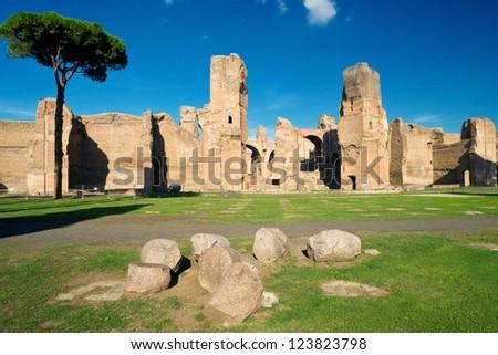 Baths of Caracalla, ancient roman public baths, in Rome, Italy - stock photo