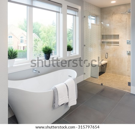 Bathtub and shower in new master bathroom interior in luxury home - stock photo