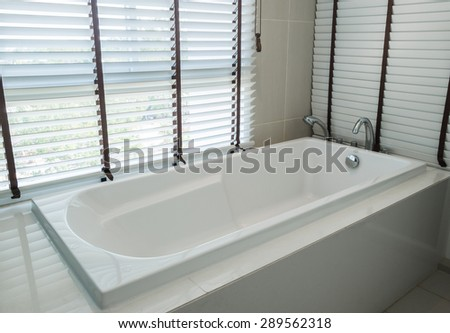 bathtub white ceramic interior luxury in bathroom - stock photo