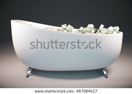 Bathtun filled with dollar banknotes on grey background. Success concept. 3D Rendering