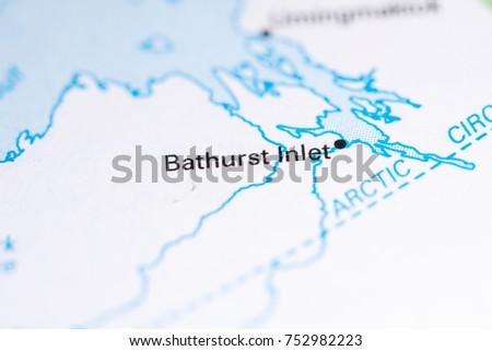 Bathurst Inlet Canada On Map Stock Photo 752982223 Shutterstock