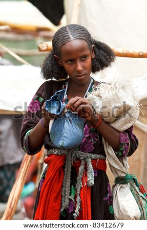 BATI, ETHIOPIA - AUGUST 1: The Bati market is one of the most important of Ethiopia, brings together various ethnic groups, such as Afar and Oromo, August 1, 2011 in Bati, Ethiopia - stock photo
