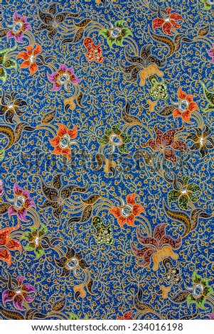 Batik design in Thailand for traditional clothes. Colorful blue tone background and flower style. For creator design illustrator. - stock photo