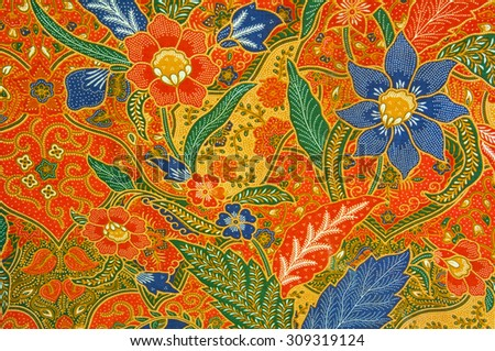 batik flora pattern design - stock photo