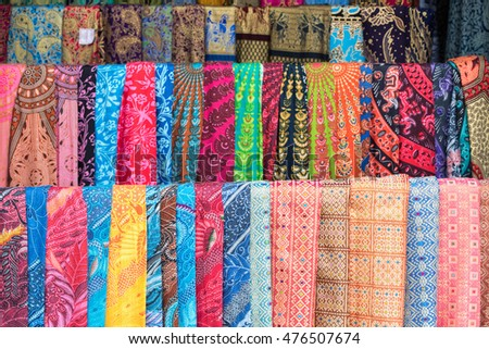 Batik indonesian silk cotton fabric tissue for sale on display at the market