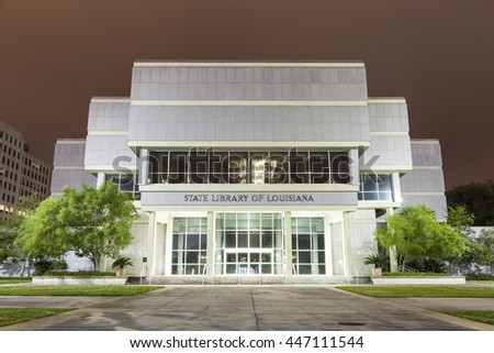 BATON ROUGE, USA - APR 15: State Library of Louisiana building in Baton Rouge illuminated at night. April 15, 2016 in Baton Rouge, Louisiana, United States