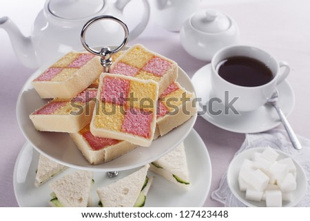 Battenberg cake for afternoon tea - stock photo