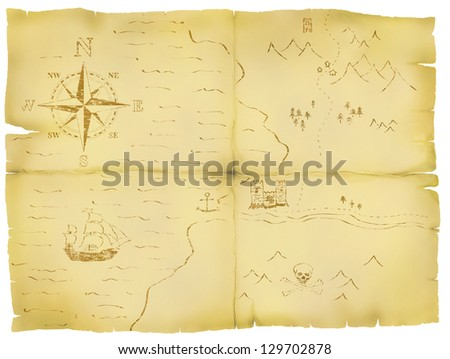 Battered and faded old map illustration. - stock photo