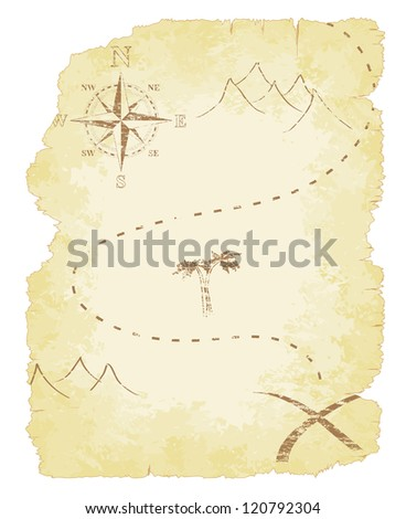 Battered and faded old treasure map illustration.