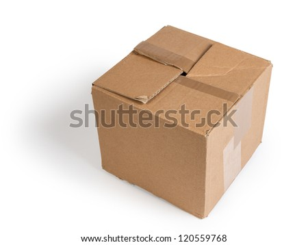 battered cardboard box isolated on white background