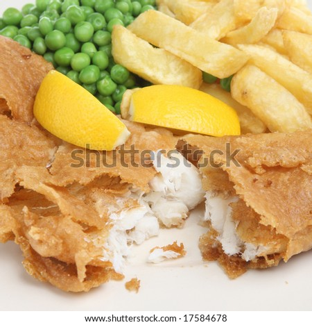 Battered cod, chips and peas.