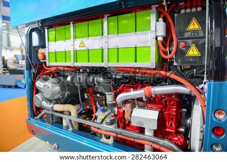 Batteries of an electric bus closeup photo - stock photo