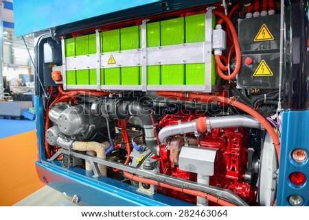 Batteries of an electric bus closeup photo - stock photo