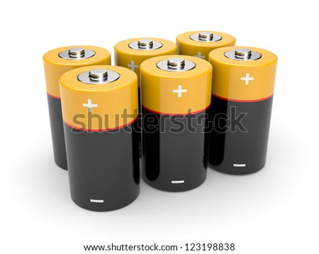Batteries on a white background - stock photo