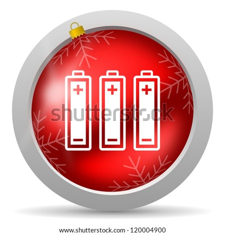 batteries red glossy christmas icon on white background