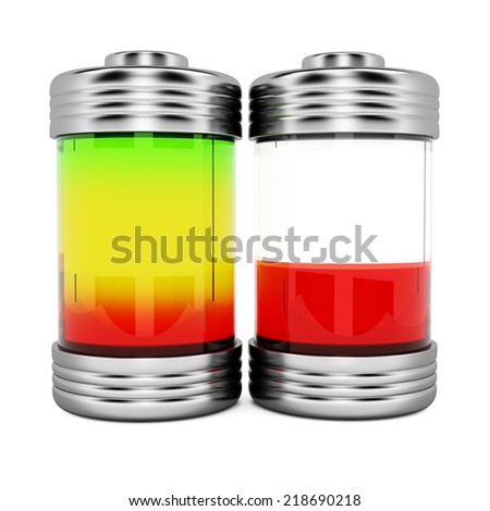 Batteries with charge level isolated on white background.