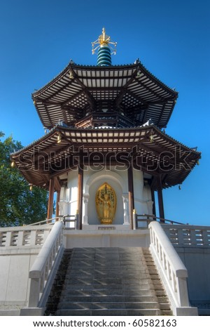 Battersea Park Peace Pagoda, a Buddhist temple next to the River Thames in London, UK