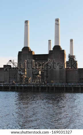 Battersea power station derelict in London Chelsea