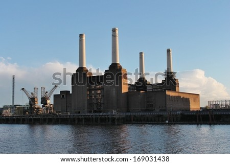 Battersea power station derelict in London Chelsea  - stock photo