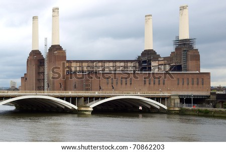 Battersea Power Station in London, England, UK - rectilinear frontal view
