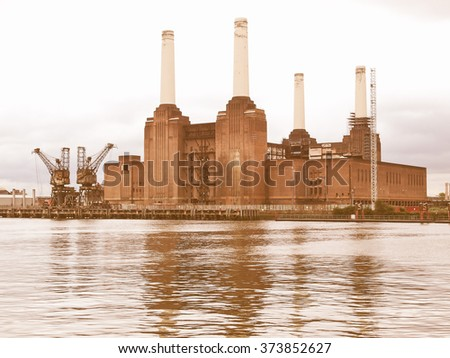 Battersea Power Station in London, England, UK vintage