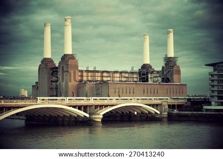 Battersea Power Station over Thames river as the famous London landmark. - stock photo