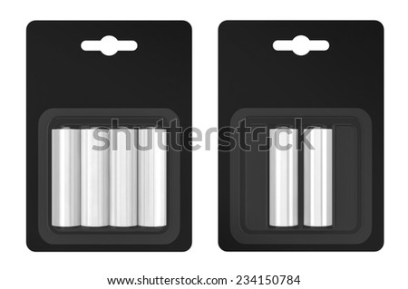 Battery AA blister packed isolated on white background - stock photo