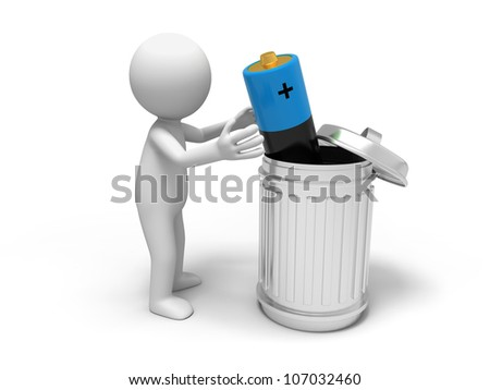 Battery/ Battery and trash can - stock photo