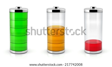 Battery charge status symbols set. Full, half and low color levels. Isolated on white background