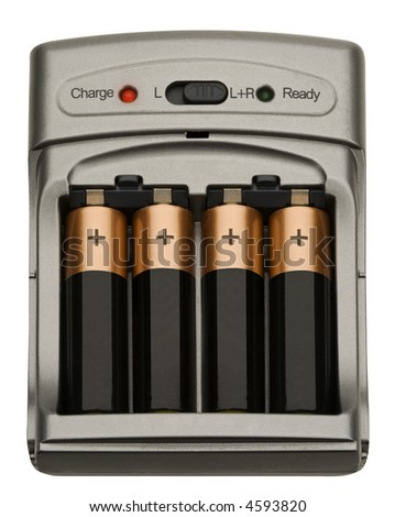 Battery Charger - isolated on white - stock photo
