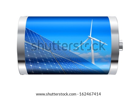 Battery containing solar panels and wind turbine  - stock photo
