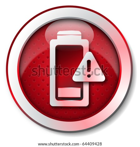 Battery down icon - stock photo