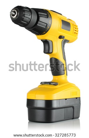 battery drill screwdriver on white background