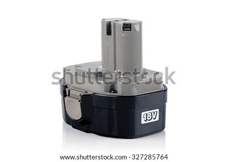 battery for power tools on a white background - stock photo