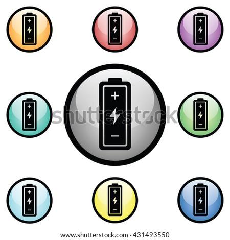 Battery Icon Glass Button Icon Set.  Raster Version - stock photo