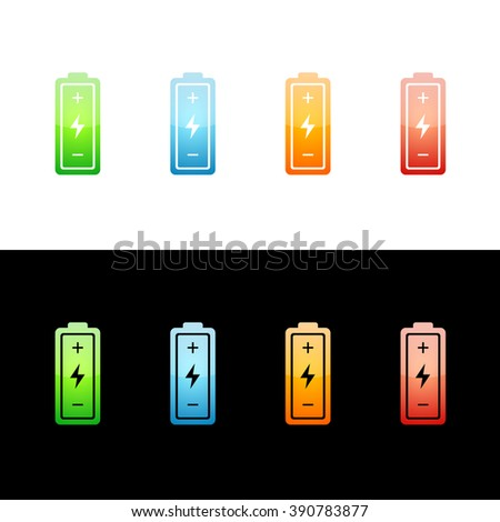 Battery Icon Glossy Glass Icons in Four Colors.  Raster Version