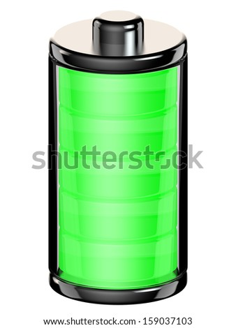 Battery icon with a full charge isolated on white background