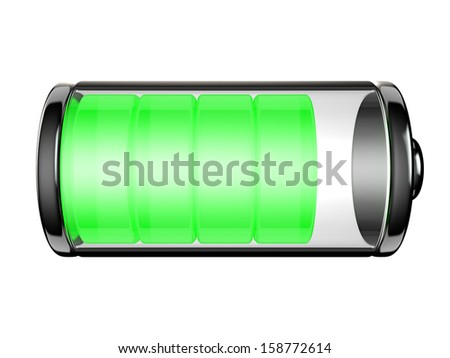 Battery icon with a high level of charge isolated on white background - stock photo